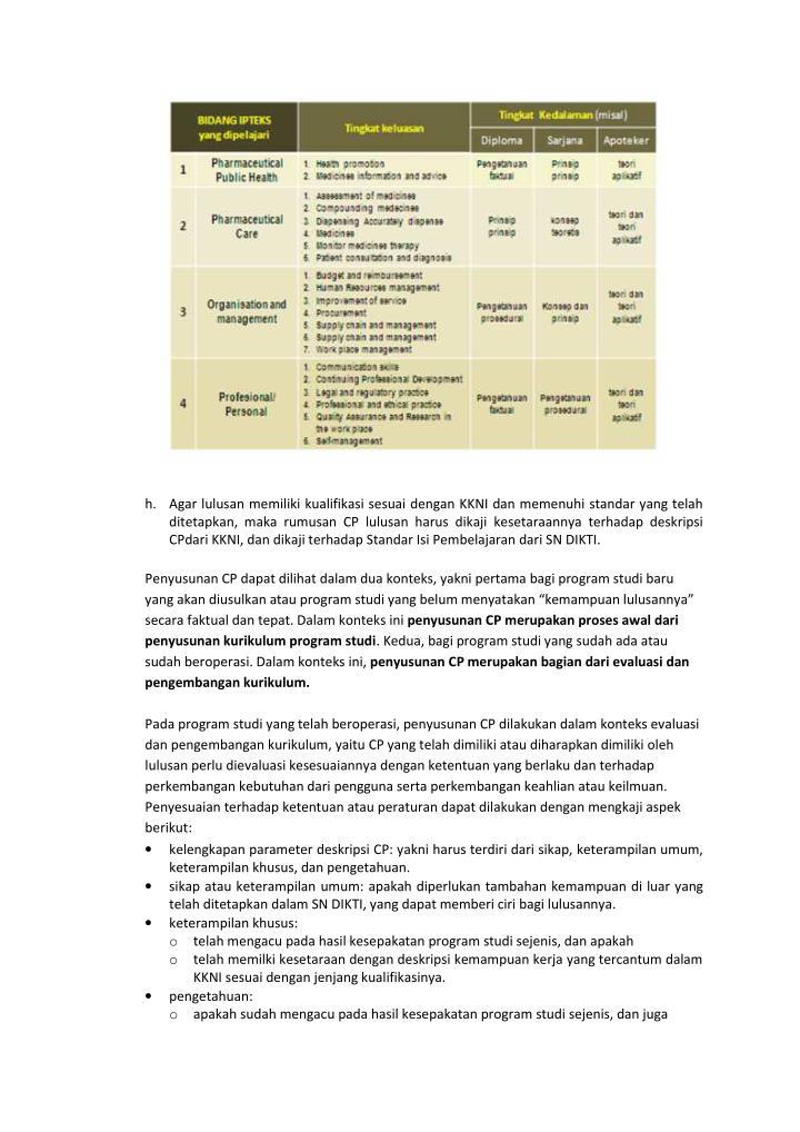 h. Agar lulusan memiliki kualifikasi sesuai dengan KKNI dan memenuhi standar yang telah