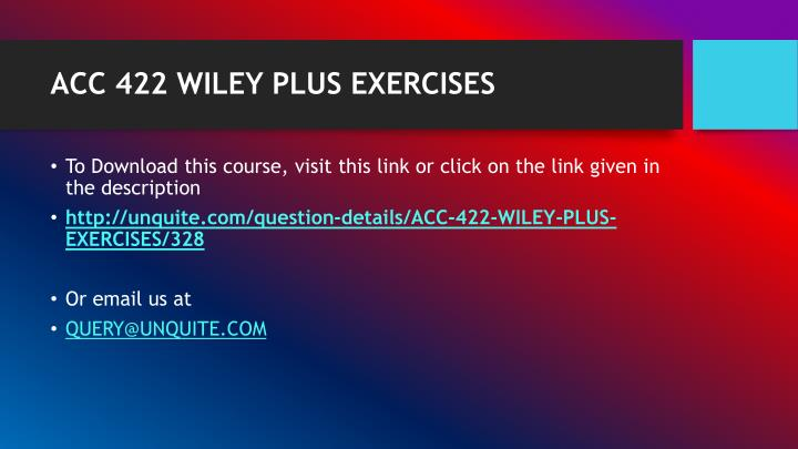 Acc 422 wiley plus exercises1
