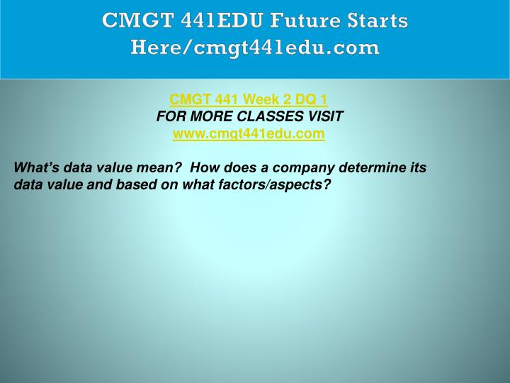CMGT 441EDU Future Starts Here/cmgt441edu.com
