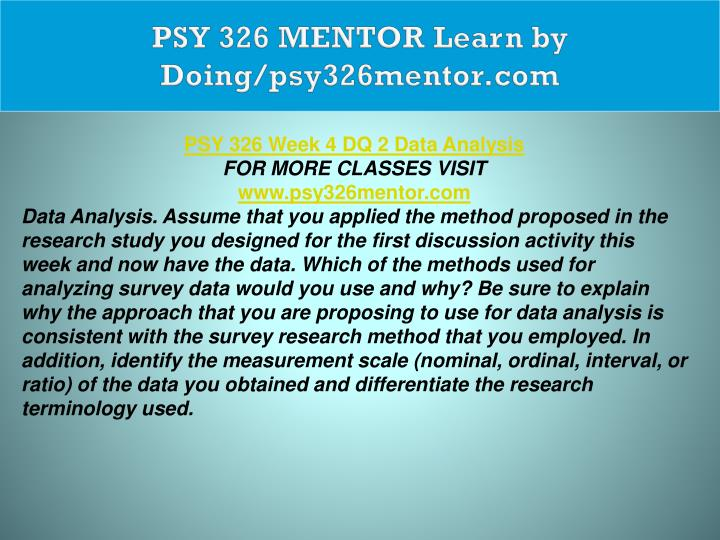 PSY 326 MENTOR Learn by Doing/psy326mentor.com