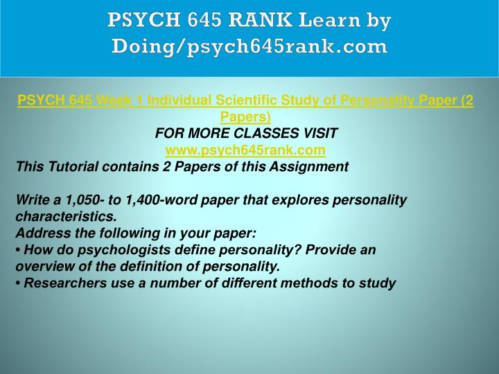 PSYCH 645 RANK Learn by Doing/psych645rank.com