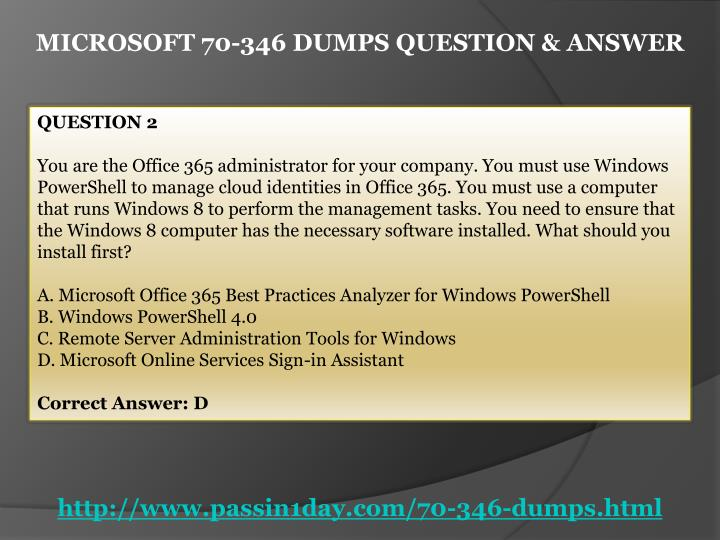MICROSOFT 70-346 DUMPS QUESTION & ANSWER