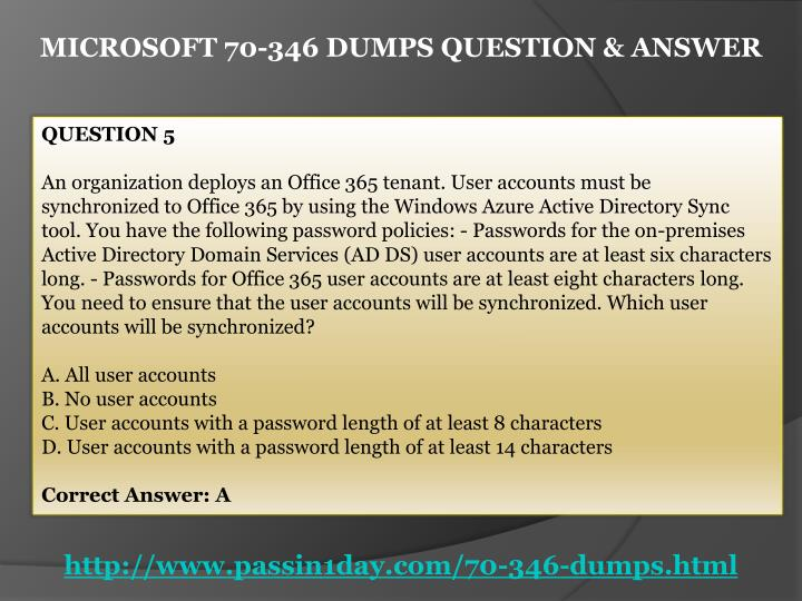 MICROSOFT 70-346 DUMPS QUESTION & ANSWER