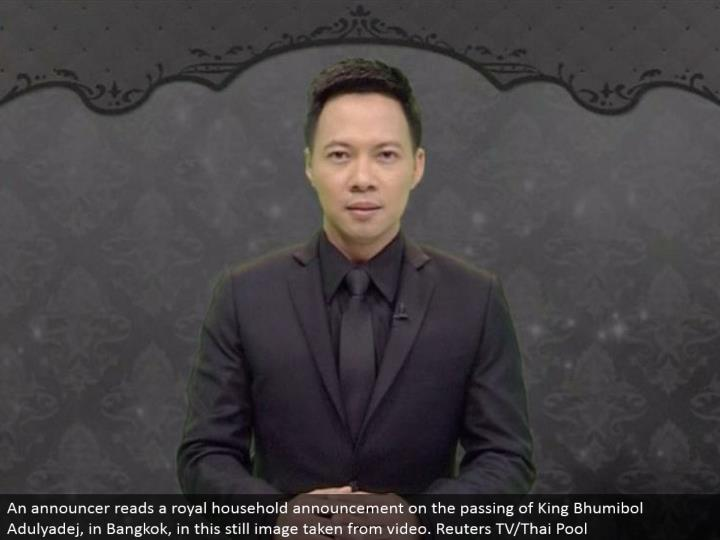 An host peruses an illustrious family unit declaration on the death of King Bhumibol Adulyadej, in Bangkok, in this still picture taken from video. Reuters TV/Thai Pool
