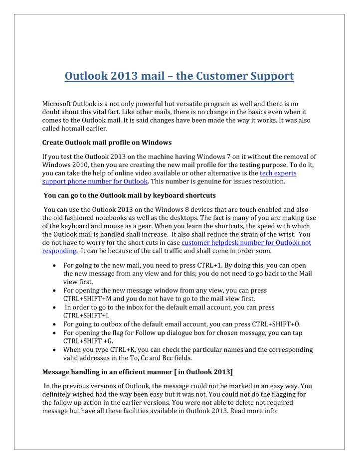 Outlook 2013 mail – the Customer Support