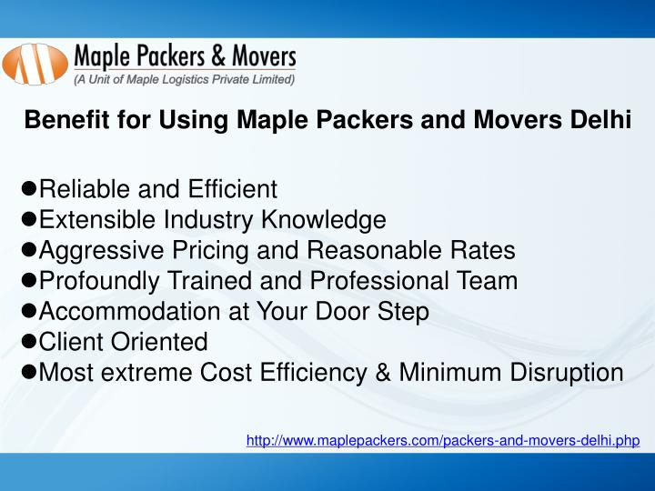 Benefit for Using Maple Packers and Movers Delhi