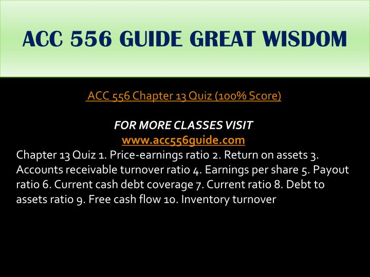 ACC 556 GUIDE GREAT WISDOM