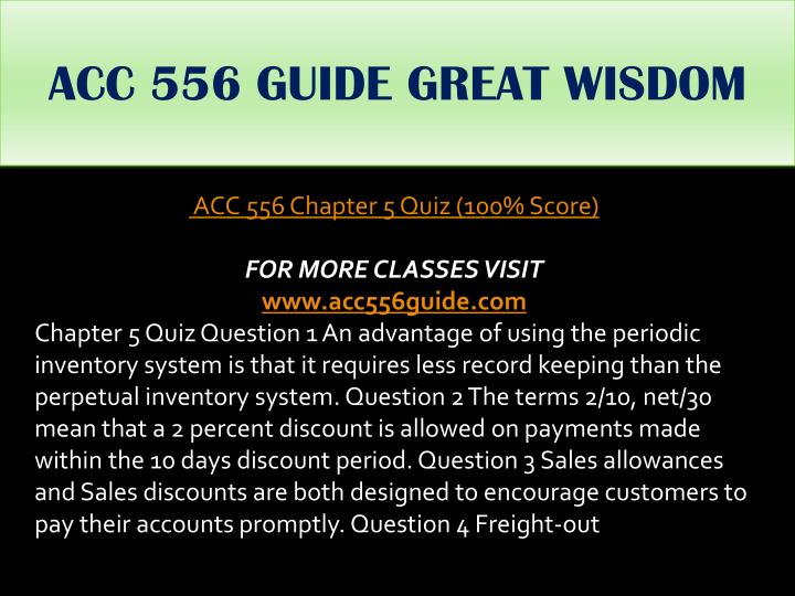 ACC 556 GUIDE GREAT WISDOM