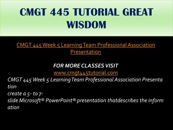 CMGT 445 TUTORIAL GREAT WISDOM