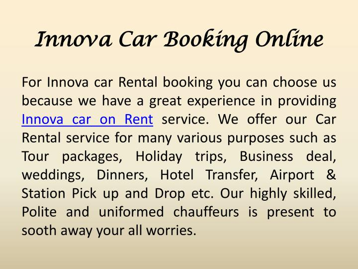 Innova Car Booking Online