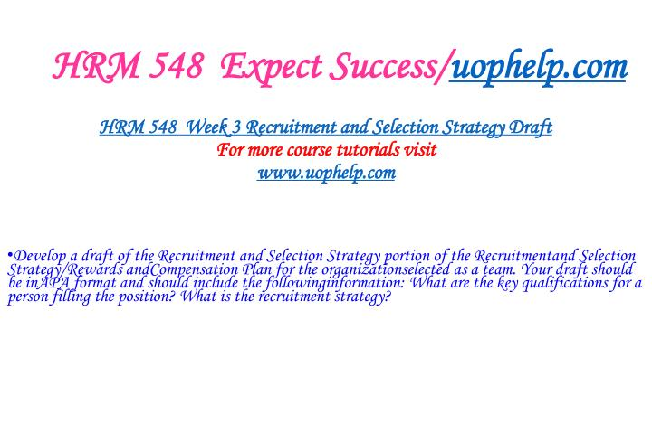 HRM 548  Expect Success/