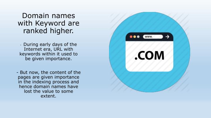 Domain names with Keyword are ranked higher.