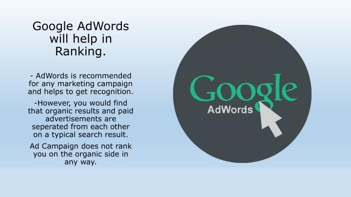 Google AdWords will help in Ranking.