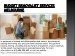 budget removalist services melbourne