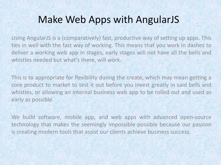 Make web apps with angularjs
