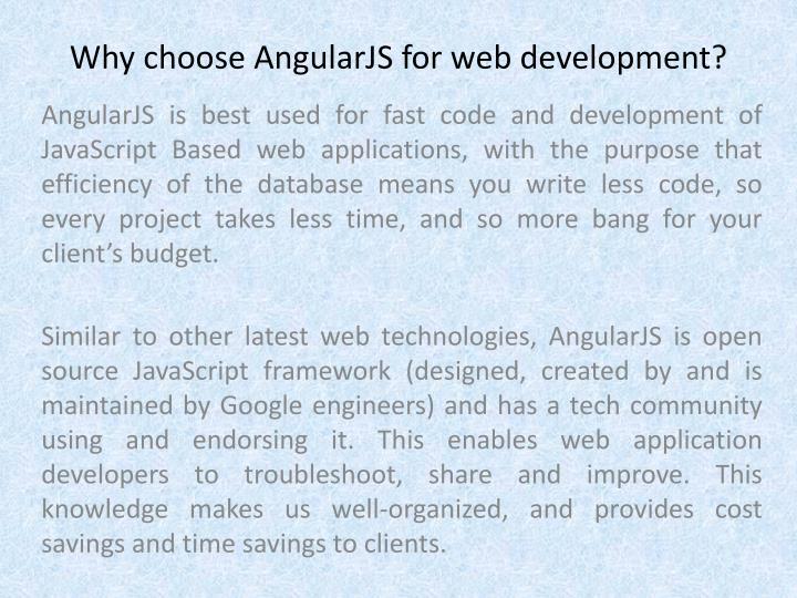 Why choose AngularJS for web development?