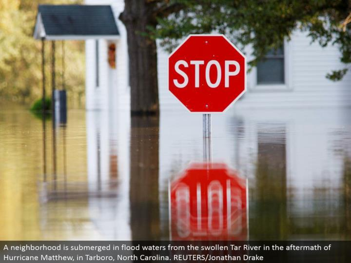 A neighborhood is submerged in surge waters from the swollen Tar River in the result of Hurricane Matthew, in Tarboro, North Carolina. REUTERS/Jonathan Drake
