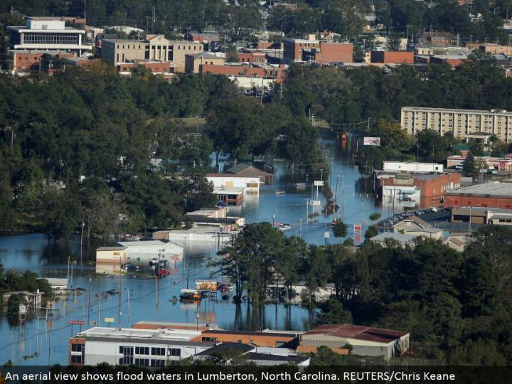 An flying perspective shows surge waters in Lumberton, North Carolina. REUTERS/Chris Keane
