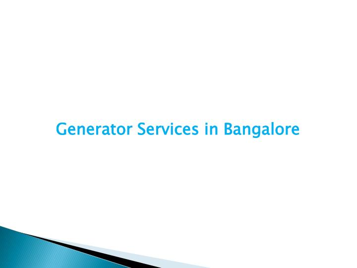 Generator Services in Bangalore