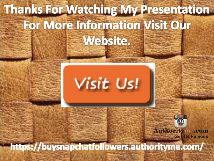 Thanks For Watching My Presentation For More Information Visit Our Website.