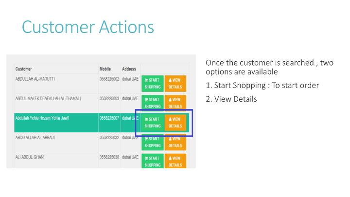 Customer Actions