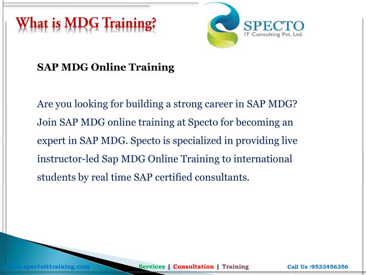 What is MDG Training?