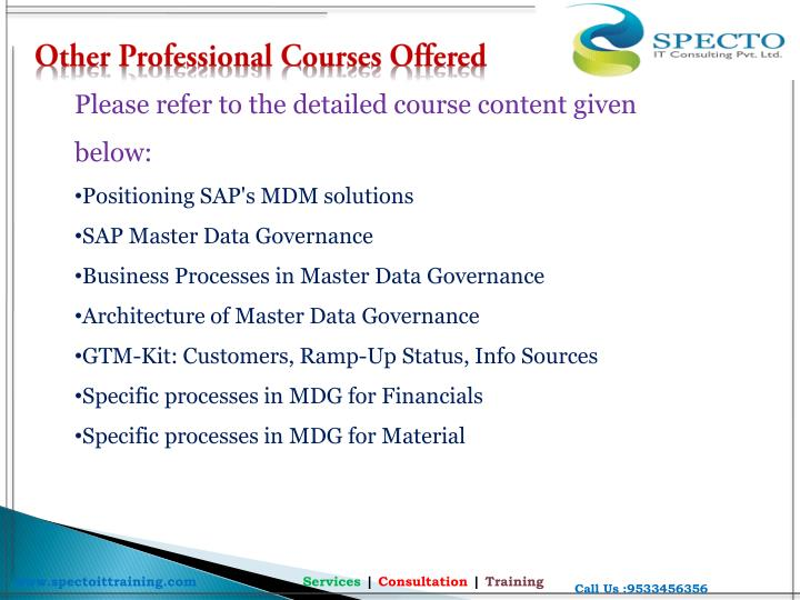 Other Professional Courses Offered