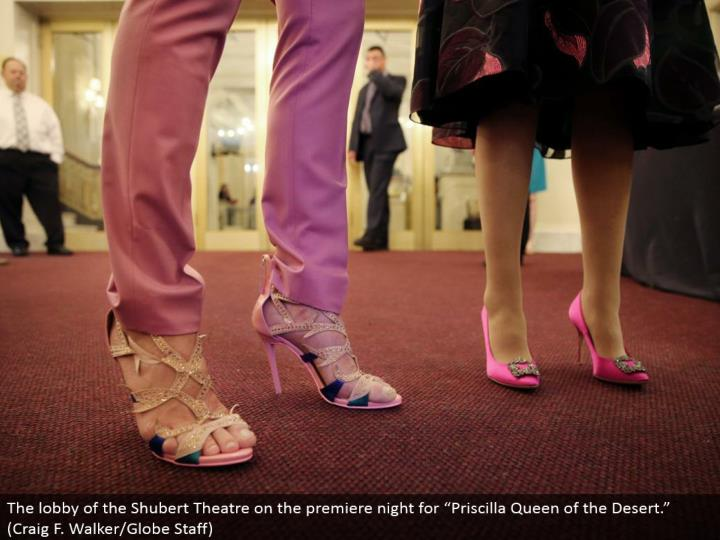 "The hall of the Shubert Theater on the debut night for ""Priscilla Queen of the Desert."" (Craig F. Walker/Globe Staff)"