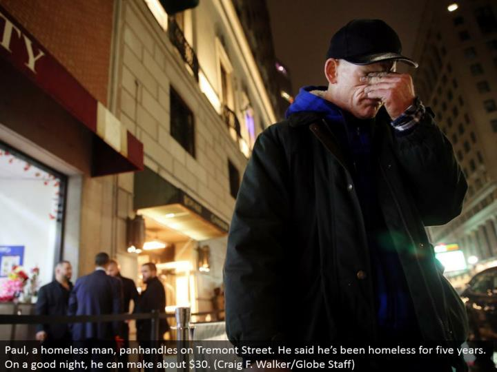 Paul, a vagrant, begs on Tremont Street. He said he's been destitute for a long time. On a decent night, he can make about $30. (Craig F. Walker/Globe Staff)