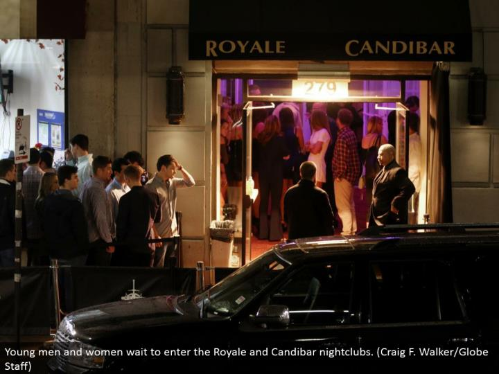 Young men and ladies hold up to enter the Royale and Candibar dance club. (Craig F. Walker/Globe Staff)