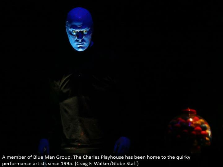 A individual from Blue Man Group. The Charles Playhouse has been home to the peculiar execution specialists since 1995. (Craig F. Walker/Globe Staff)