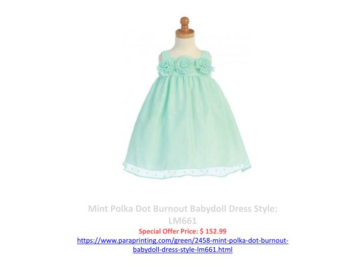 Mint Polka Dot Burnout Babydoll Dress Style: LM661
