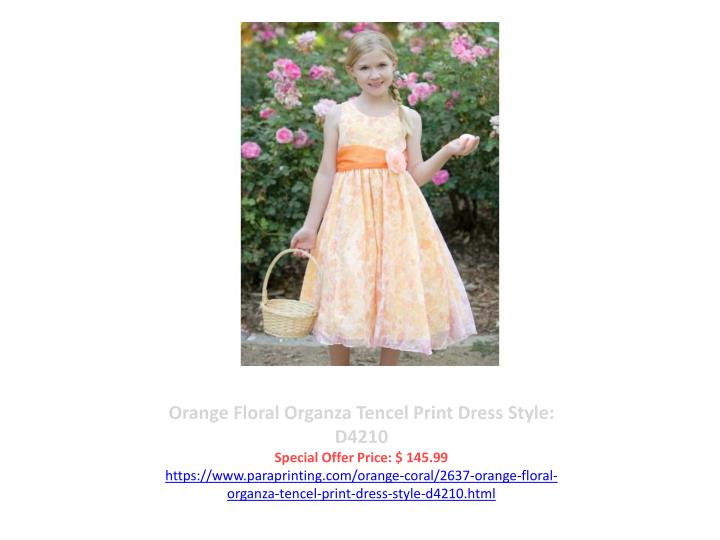 Orange Floral Organza Tencel Print Dress Style: D4210