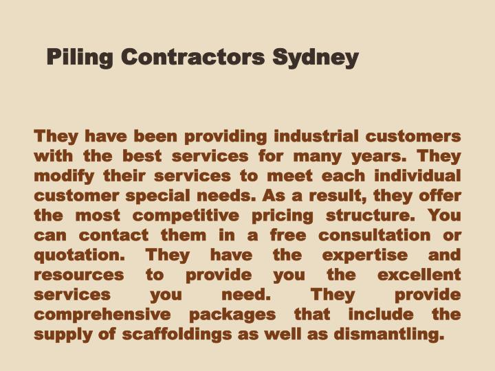 Piling Contractors Sydney