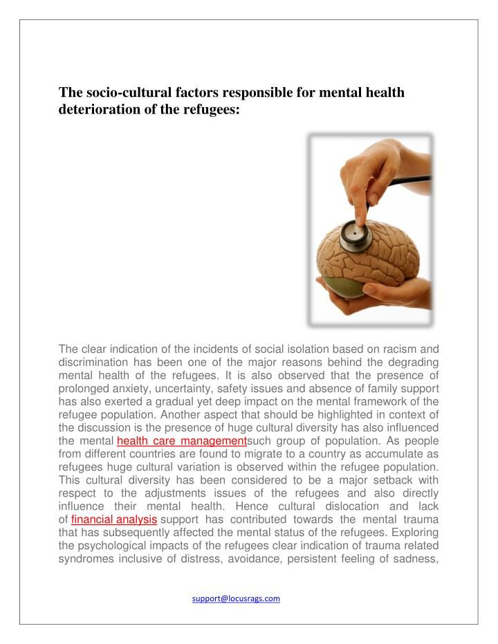 The socio-cultural factors responsible for mental health