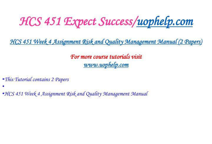 HCS 451 Expect Success/
