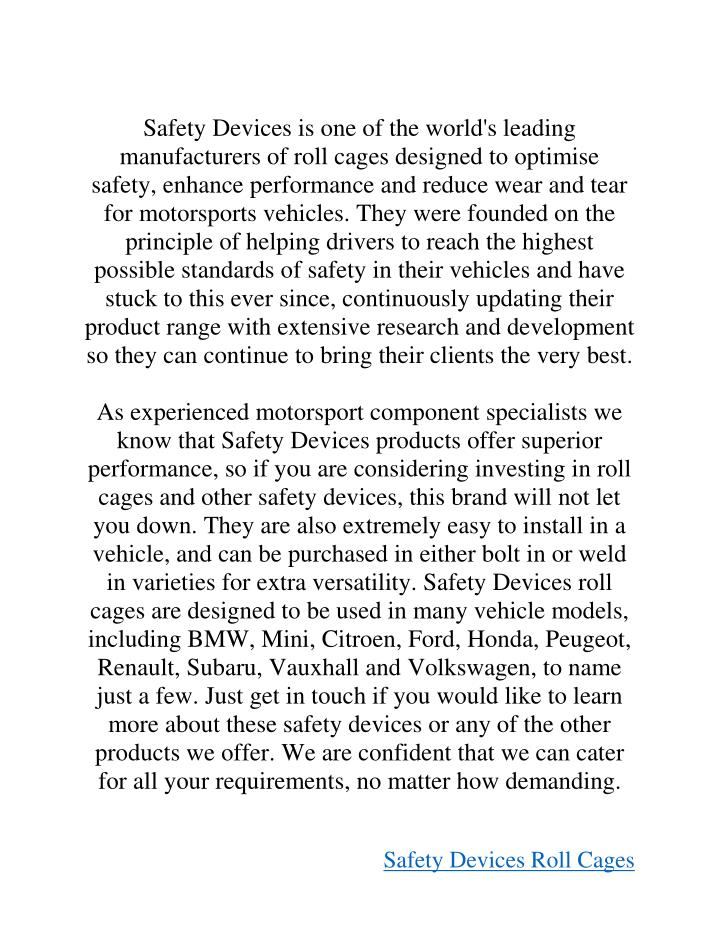Safety Devices is one of the world's leading