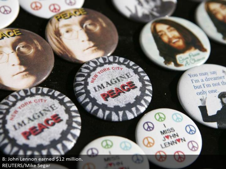 8: John Lennon earned $12 million.  REUTERS/Mike Segar