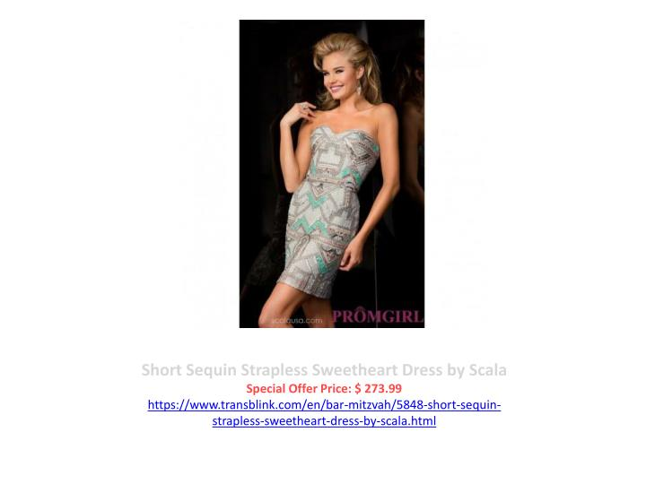 Short Sequin Strapless Sweetheart Dress by Scala