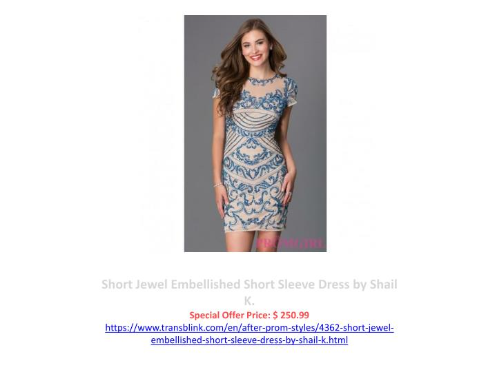 Short Jewel Embellished Short Sleeve Dress by Shail K.