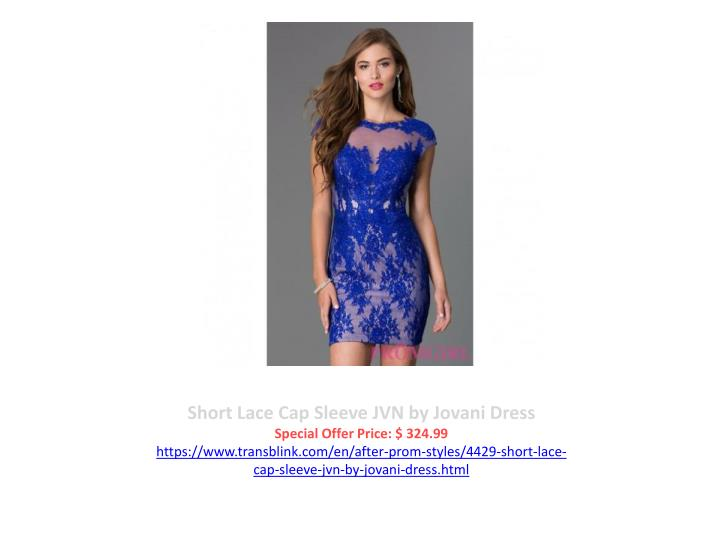 Short Lace Cap Sleeve JVN by Jovani Dress