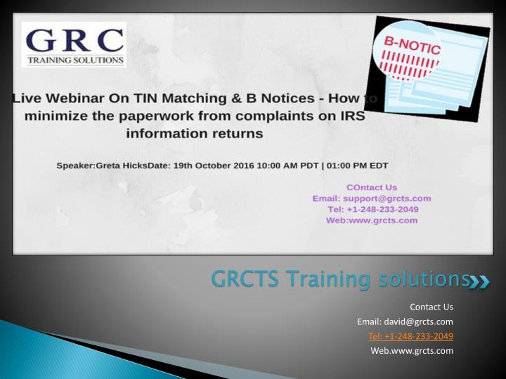 Grcts training solutions
