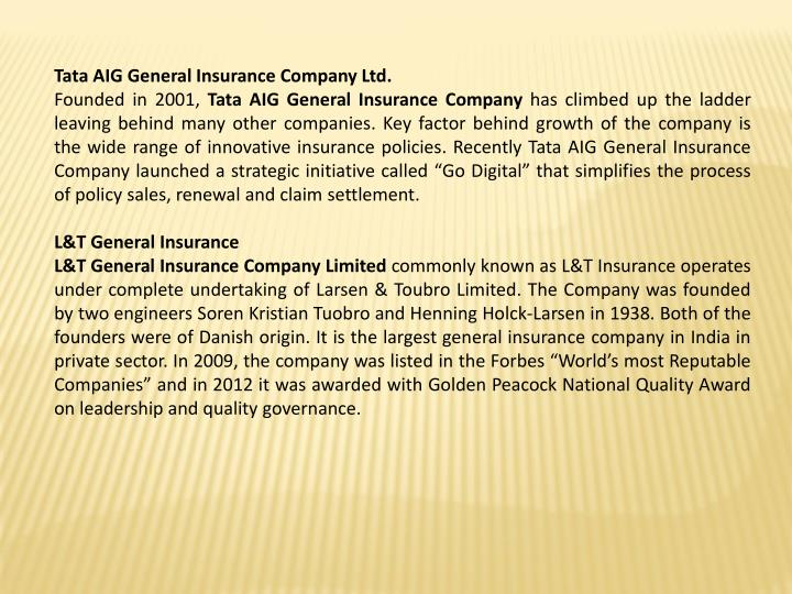 Tata AIG General Insurance Company Ltd.