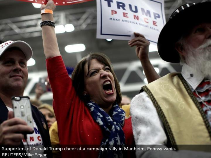 Supporters of Donald Trump cheer at a battle rally in Manheim, Pennsylvania. REUTERS/Mike Segar