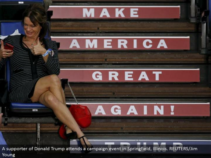 A supporter of Donald Trump goes to a crusade occasion in Springfield, Illinois. REUTERS/Jim Young