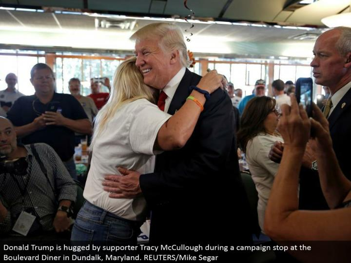 Donald Trump is embraced by supporter Tracy McCullough amid a battle stop at the Boulevard Diner in Dundalk, Maryland. REUTERS/Mike Segar