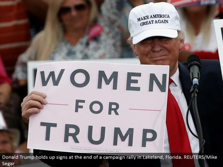 Donald Trump holds up signs toward the end of a crusade rally in Lakeland, Florida. REUTERS/Mike Segar