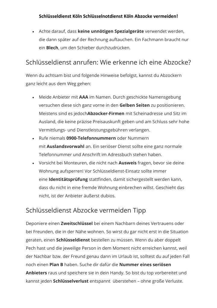Schlüsseldienst Köln Schlüsselnotdienst Köln Abzocke vermeiden!