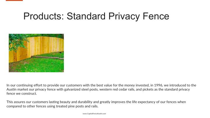 Products: Standard Privacy Fence