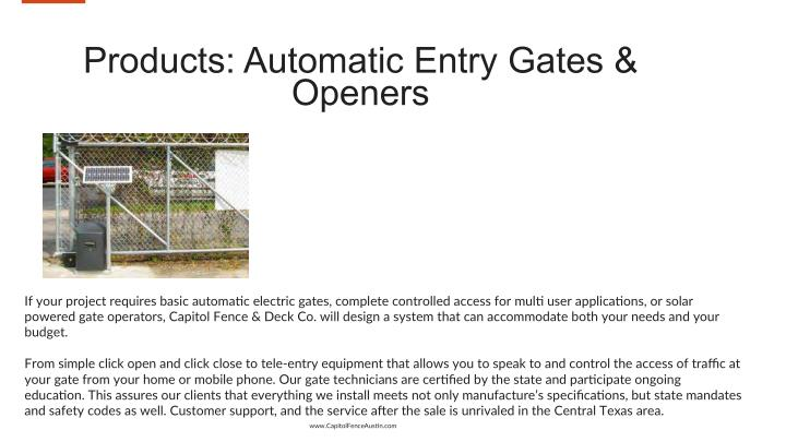Products: Automatic Entry Gates &
